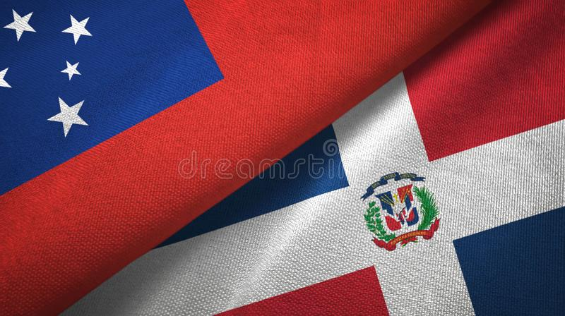 Tissu de textile de drapeaux du Samoa et de la République Dominicaine deux, texture de tissu illustration libre de droits