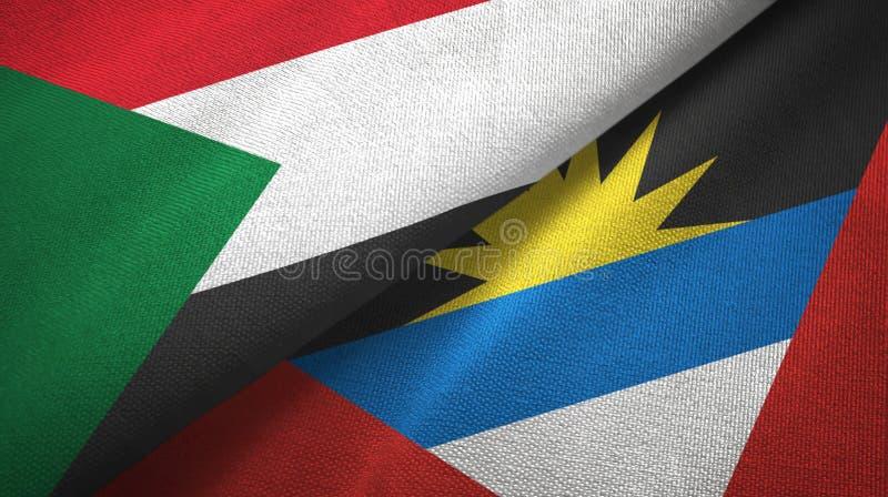Tissu de textile de drapeaux du Soudan et de l'Antigua-et-Barbuda deux, texture de tissu illustration de vecteur
