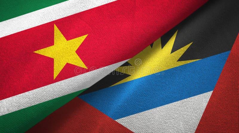 Tissu de textile de drapeaux du Surinam et de l'Antigua-et-Barbuda deux, texture de tissu illustration de vecteur