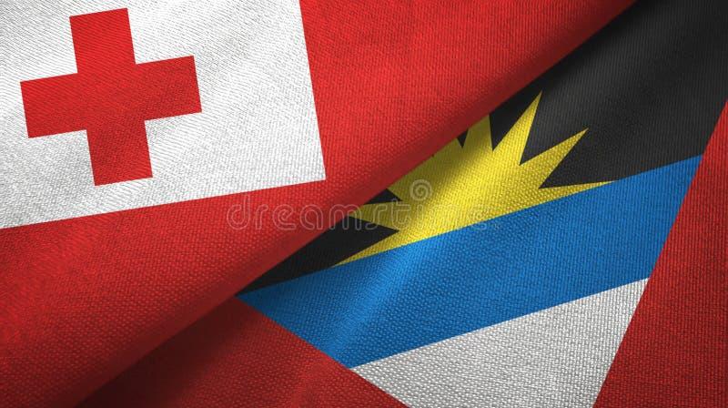 Tissu de textile de drapeaux du Tonga et de l'Antigua-et-Barbuda deux, texture de tissu illustration stock
