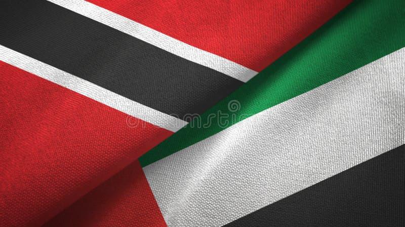 Tissu de textile de drapeaux du Trinidad-et-Tobago et des Emirats Arabes Unis deux illustration de vecteur