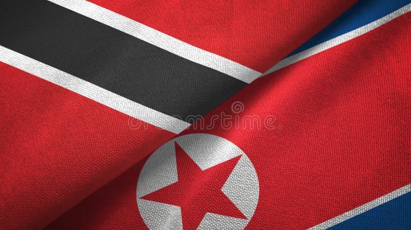 Tissu de textile de drapeaux du Trinidad-et-Tobago et de la Corée du Nord deux, texture de tissu illustration de vecteur