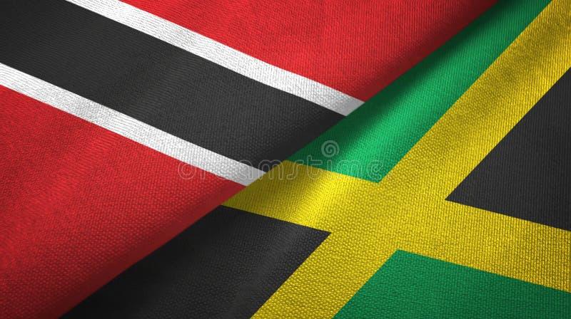 Tissu de textile de drapeaux du Trinidad-et-Tobago et de la Jama?que deux, texture de tissu illustration de vecteur