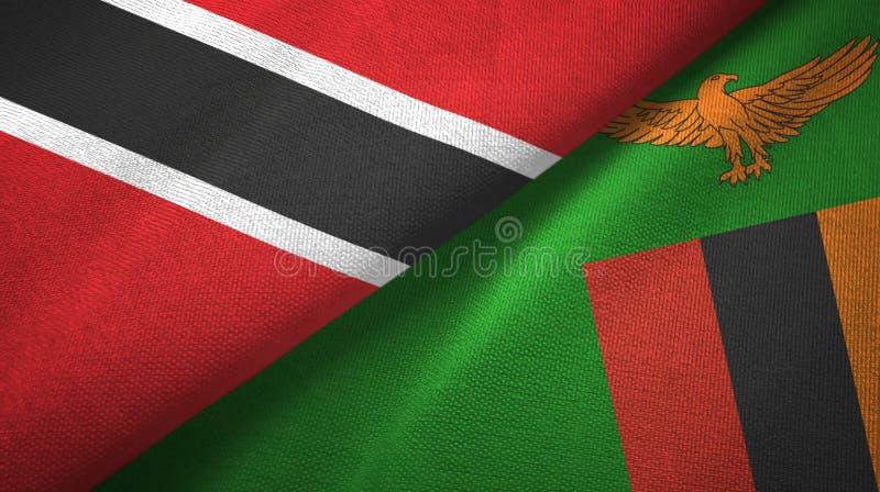 Tissu de textile de drapeaux du Trinidad-et-Tobago et de la Zambie deux, texture de tissu illustration stock