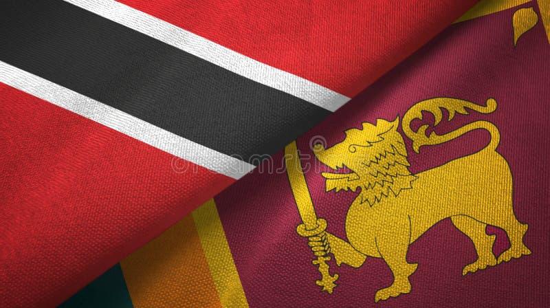 Tissu de textile de drapeaux du Trinidad-et-Tobago et de Sri Lanka deux, texture de tissu illustration de vecteur