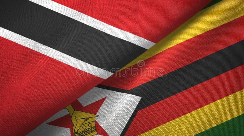 Tissu de textile de drapeaux du Trinidad-et-Tobago et du Zimbabwe deux, texture de tissu illustration de vecteur