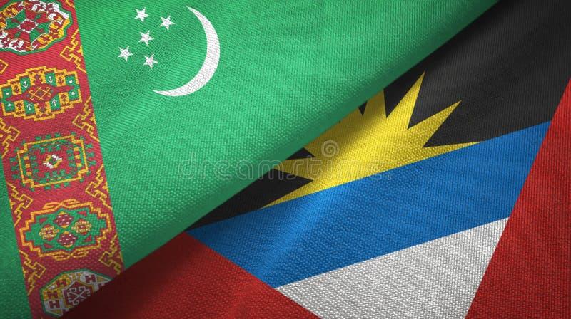 Tissu de textile de drapeaux du Turkménistan et de l'Antigua-et-Barbuda deux, texture de tissu illustration stock