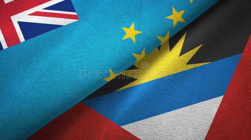Tissu de textile de drapeaux du Tuvalu et de l'Antigua-et-Barbuda deux, texture de tissu illustration de vecteur