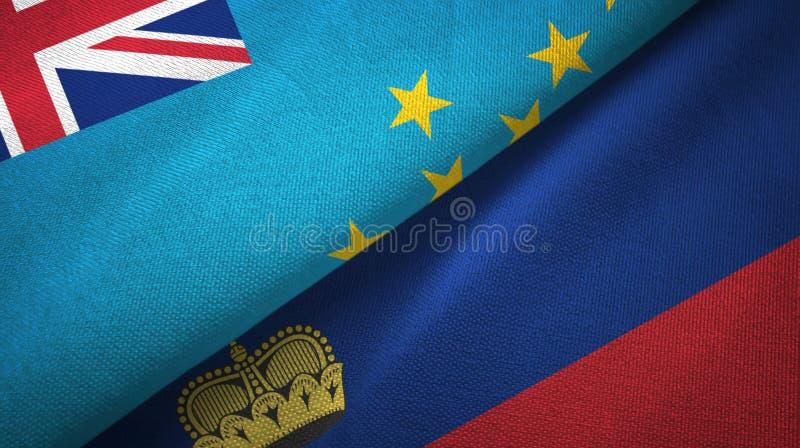 Tissu de textile de drapeaux du Tuvalu et de la Liechtenstein deux, texture de tissu illustration de vecteur