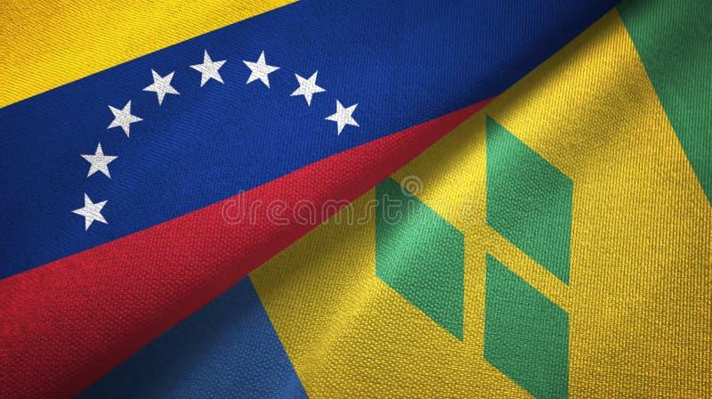 Tissu de textile de drapeaux du Venezuela et du Saint-Vincent-et-les-Grenadines deux illustration de vecteur