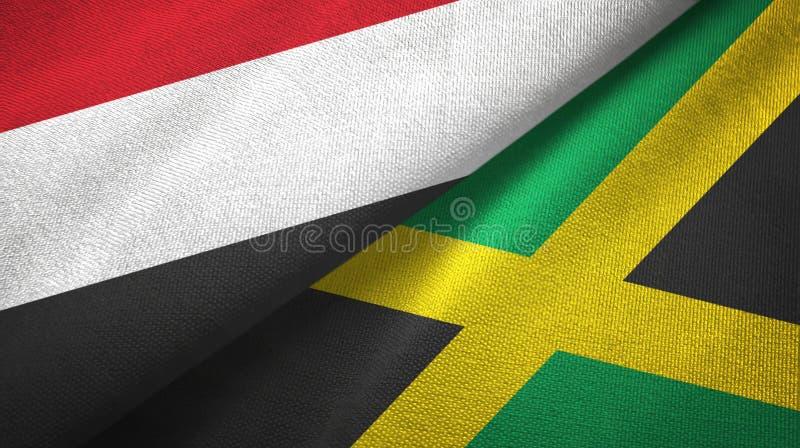 Tissu de textile de drapeaux du Yémen et de la Jamaïque deux, texture de tissu illustration de vecteur
