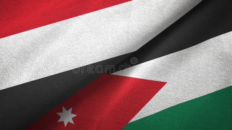 Tissu de textile de drapeaux du Yémen et de la Jordanie deux, texture de tissu illustration libre de droits