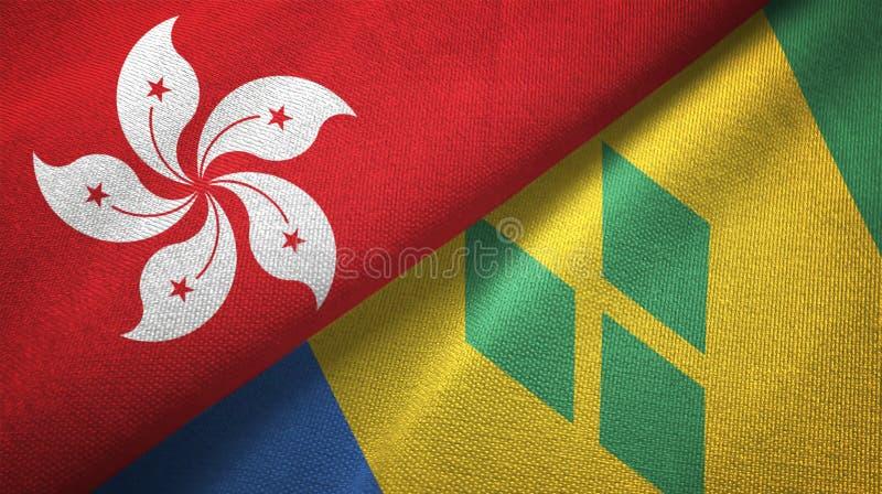 Tissu de textile de drapeaux de Hong Kong et de Saint-Vincent-et-les-Grenadines deux illustration libre de droits