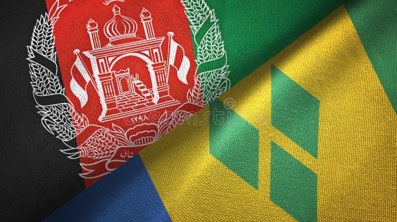 Tissu de textile de drapeaux de l'Afghanistan et du Saint-Vincent-et-les-Grenadines deux illustration stock