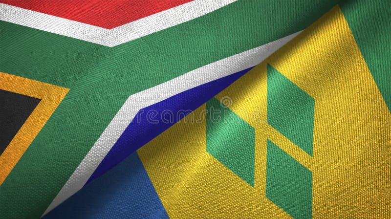 Tissu de textile de drapeaux de l'Afrique du Sud et du Saint-Vincent-et-les-Grenadines deux illustration libre de droits