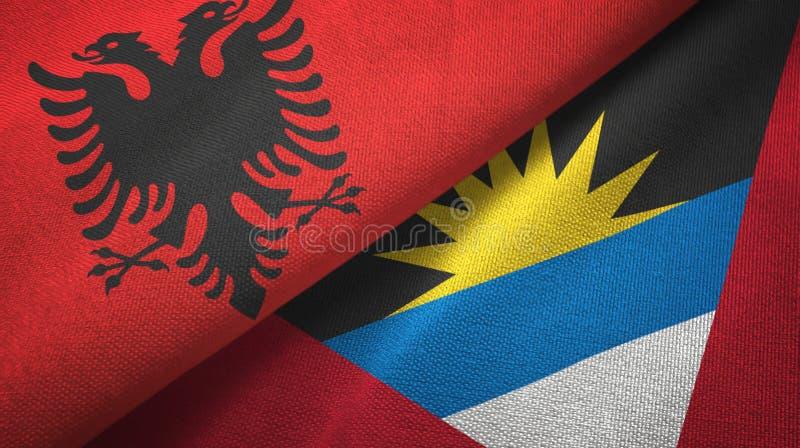 Tissu de textile de drapeaux de l'Albanie et de l'Antigua-et-Barbuda deux, texture de tissu illustration stock