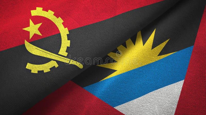 Tissu de textile de drapeaux de l'Angola et de l'Antigua-et-Barbuda deux, texture de tissu illustration stock