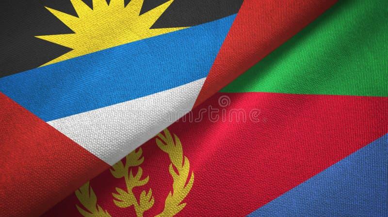 Tissu de textile de drapeaux de l'Antigua-et-Barbuda et de l'Érythrée deux, texture de tissu illustration stock