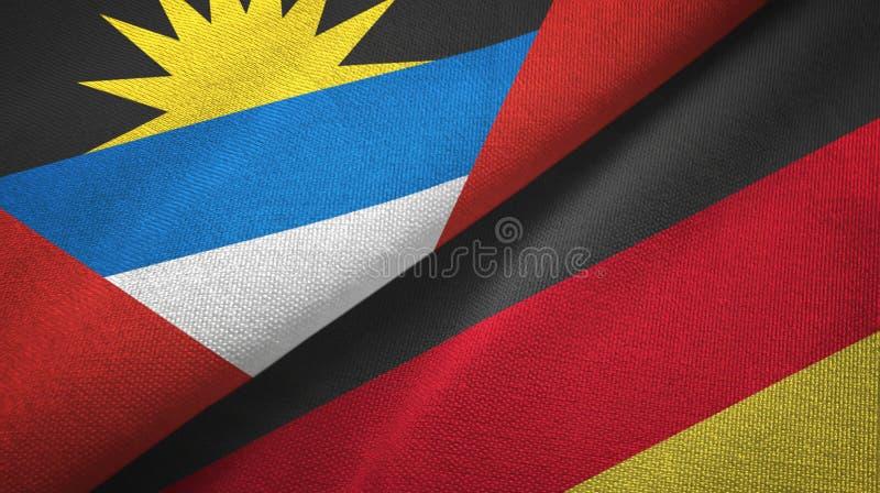 Tissu de textile de drapeaux de l'Antigua-et-Barbuda et de l'Allemagne deux, texture de tissu illustration libre de droits