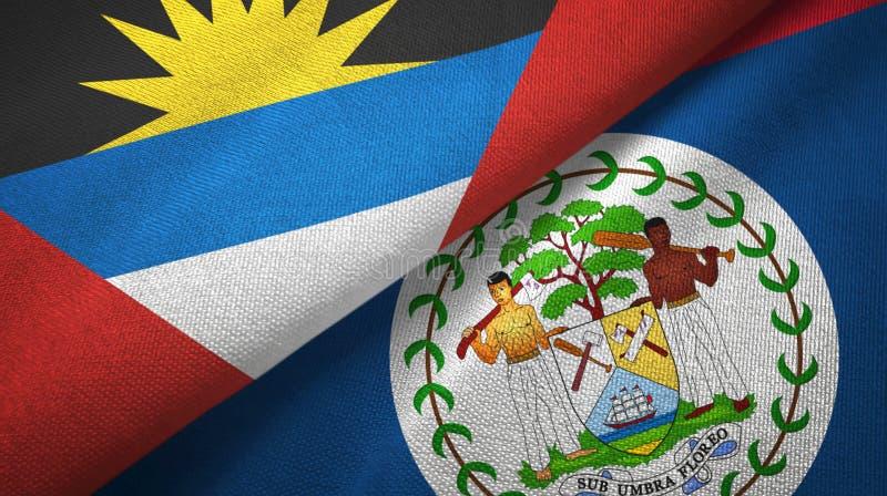 Tissu de textile de drapeaux de l'Antigua-et-Barbuda et de Belize deux, texture de tissu illustration libre de droits
