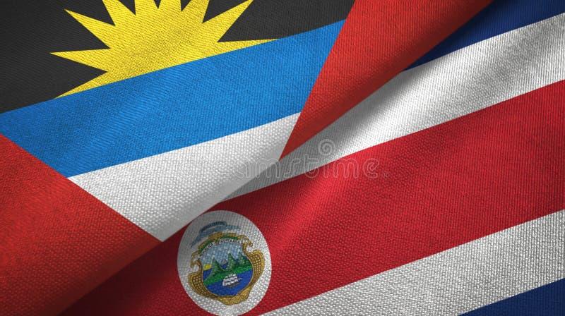 Tissu de textile de drapeaux de l'Antigua-et-Barbuda et de Costa Rica deux, texture de tissu illustration stock