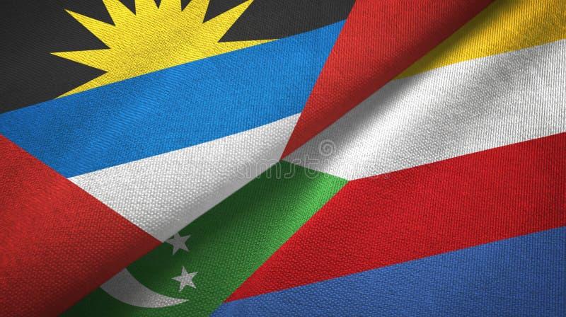 Tissu de textile de drapeaux de l'Antigua-et-Barbuda et des Comores deux, texture de tissu illustration de vecteur