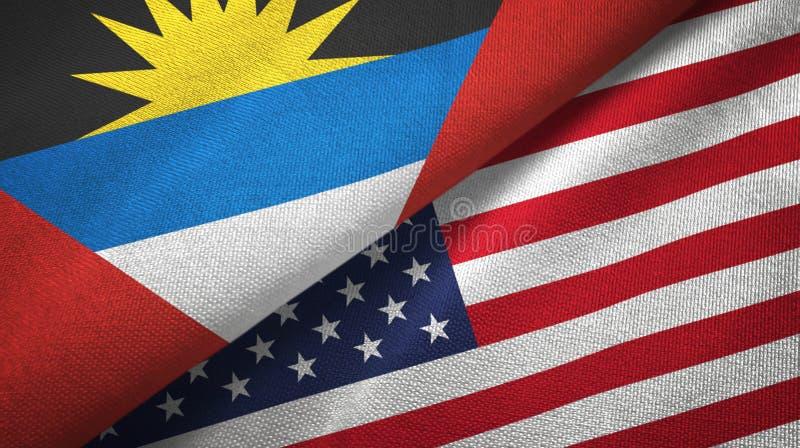 Tissu de textile de drapeaux de l'Antigua-et-Barbuda et des Etats-Unis deux, texture de tissu illustration stock