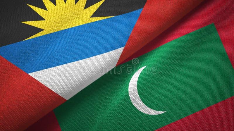 Tissu de textile de drapeaux de l'Antigua-et-Barbuda et des Maldives deux, texture de tissu illustration stock