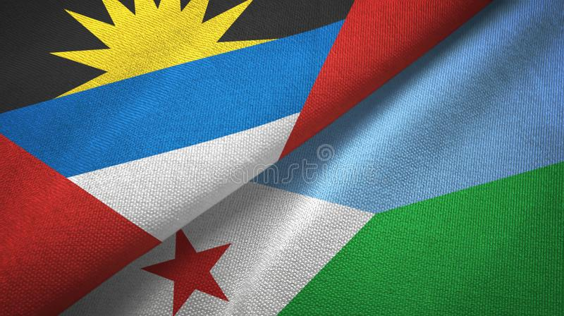 Tissu de textile de drapeaux de l'Antigua-et-Barbuda et de Djibouti deux, texture de tissu illustration de vecteur