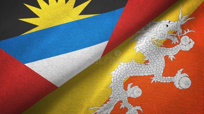 Tissu de textile de drapeaux de l'Antigua-et-Barbuda et du Bhutan deux, texture de tissu illustration de vecteur