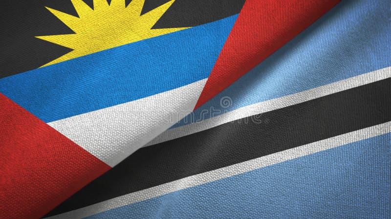 Tissu de textile de drapeaux de l'Antigua-et-Barbuda et du Botswana deux, texture de tissu illustration libre de droits
