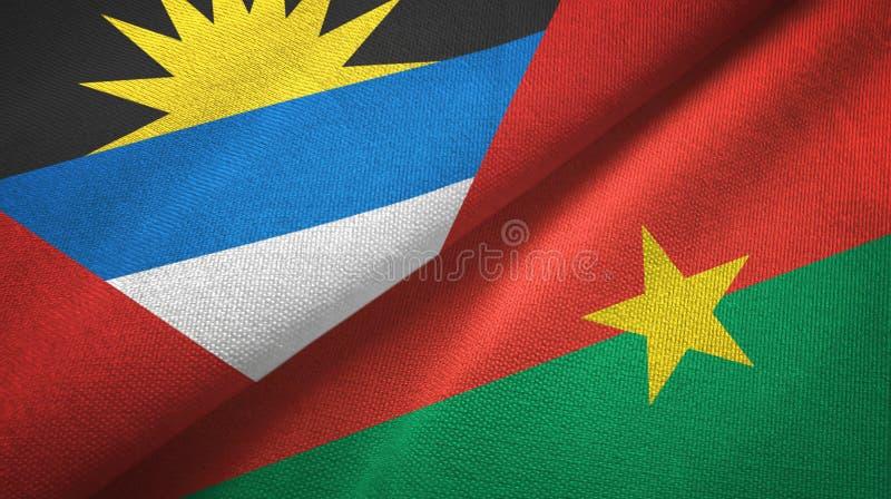 Tissu de textile de drapeaux de l'Antigua-et-Barbuda et du Burkina Faso deux, texture de tissu illustration stock