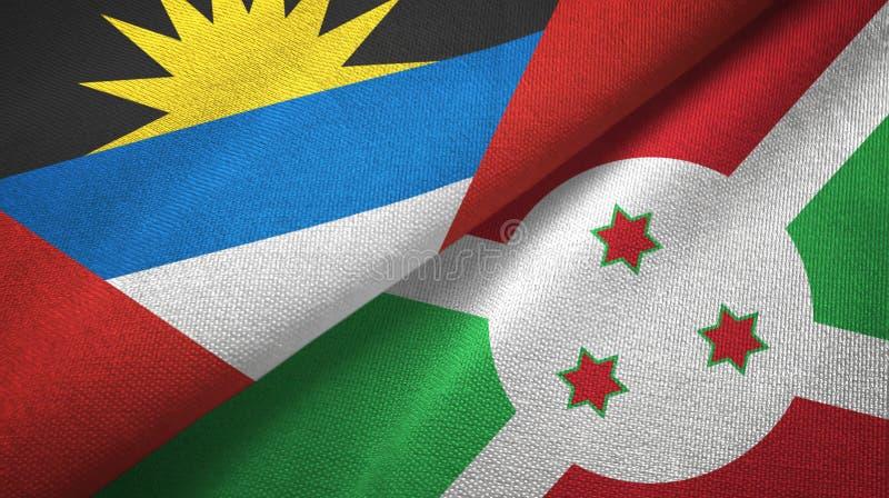 Tissu de textile de drapeaux de l'Antigua-et-Barbuda et du Burundi deux, texture de tissu illustration stock