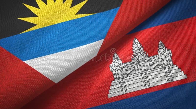 Tissu de textile de drapeaux de l'Antigua-et-Barbuda et du Cambodge deux, texture de tissu illustration stock