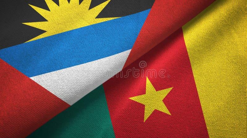 Tissu de textile de drapeaux de l'Antigua-et-Barbuda et du Cameroun deux, texture de tissu illustration libre de droits
