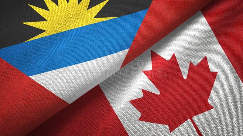Tissu de textile de drapeaux de l'Antigua-et-Barbuda et du Canada deux, texture de tissu illustration stock