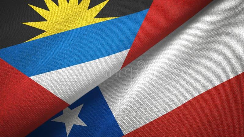 Tissu de textile de drapeaux de l'Antigua-et-Barbuda et du Chili deux, texture de tissu illustration de vecteur