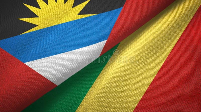 Tissu de textile de drapeaux de l'Antigua-et-Barbuda et du Congo deux, texture de tissu illustration libre de droits