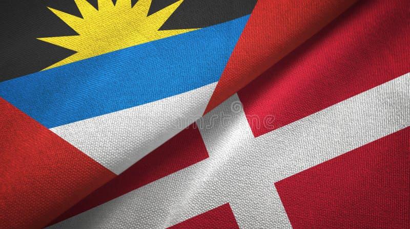 Tissu de textile de drapeaux de l'Antigua-et-Barbuda et du Danemark deux, texture de tissu illustration de vecteur