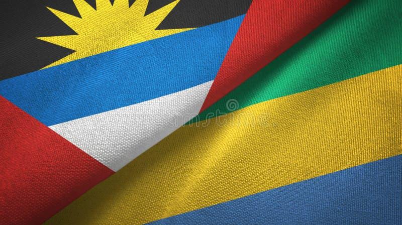 Tissu de textile de drapeaux de l'Antigua-et-Barbuda et du Gabon deux, texture de tissu illustration de vecteur