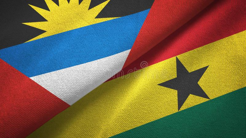 Tissu de textile de drapeaux de l'Antigua-et-Barbuda et du Ghana deux, texture de tissu illustration stock
