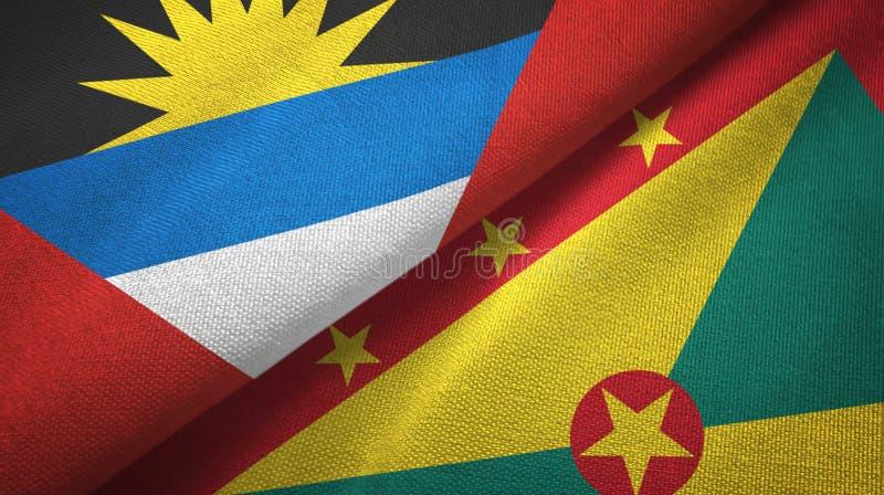 Tissu de textile de drapeaux de l'Antigua-et-Barbuda et du Grenada deux, texture de tissu illustration de vecteur