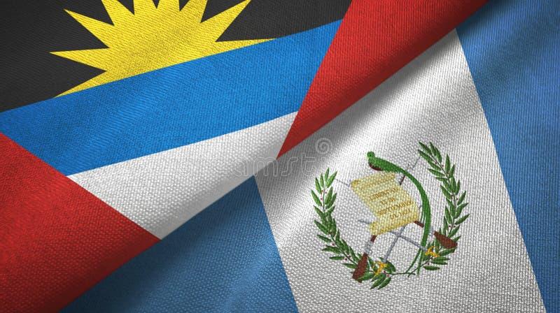 Tissu de textile de drapeaux de l'Antigua-et-Barbuda et du Guatemala deux, texture de tissu illustration stock