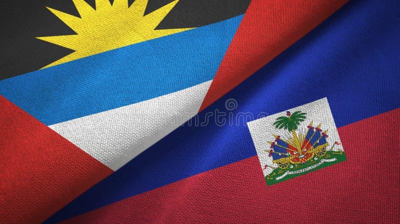Tissu de textile de drapeaux de l'Antigua-et-Barbuda et du Haïti deux, texture de tissu illustration libre de droits