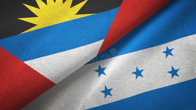 Tissu de textile de drapeaux de l'Antigua-et-Barbuda et du Honduras deux, texture de tissu illustration de vecteur