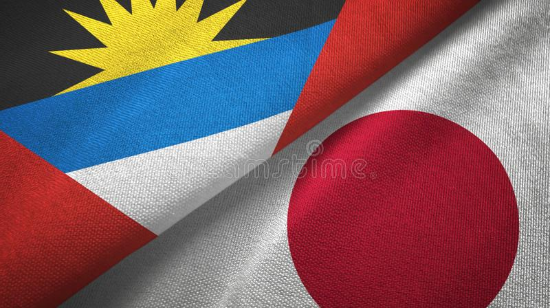 Tissu de textile de drapeaux de l'Antigua-et-Barbuda et du Japon deux, texture de tissu illustration stock