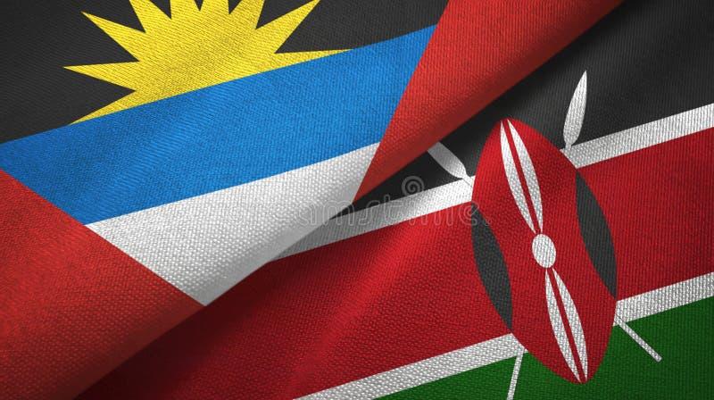 Tissu de textile de drapeaux de l'Antigua-et-Barbuda et du Kenya deux, texture de tissu illustration de vecteur