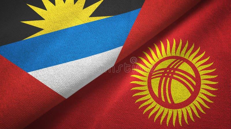 Tissu de textile de drapeaux de l'Antigua-et-Barbuda et du Kirghizistan deux, texture de tissu illustration libre de droits