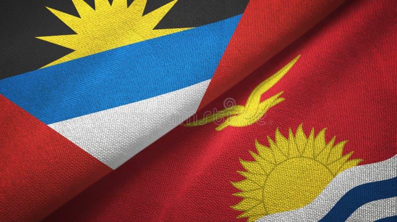 Tissu de textile de drapeaux de l'Antigua-et-Barbuda et du Kiribati deux, texture de tissu illustration stock