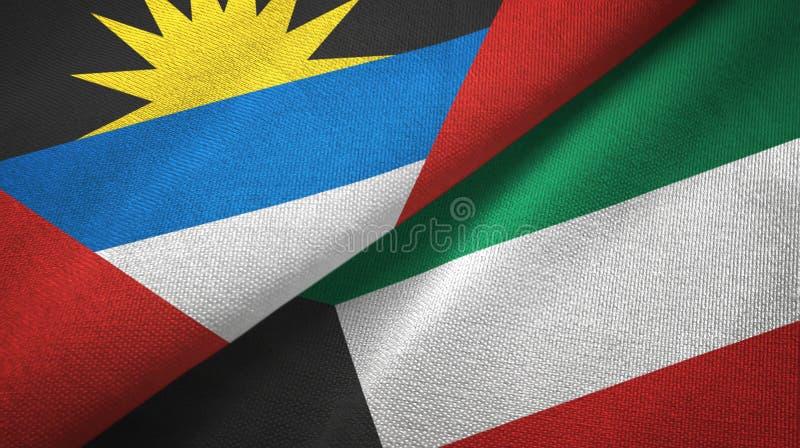 Tissu de textile de drapeaux de l'Antigua-et-Barbuda et du Kowéit deux, texture de tissu illustration libre de droits